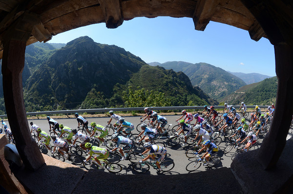 My view of the world, and the Vuelta peloton, from inside an Asturian structure called a Horreo...