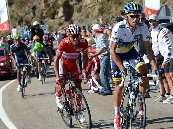 Contador makes an attack on the summit of the Pajares - it's starting to hurt Rodriguez..!