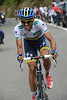 Alberto Contador now attacks on the following ascent of the Collado La Hoz - with 50-kilometres still to go..!