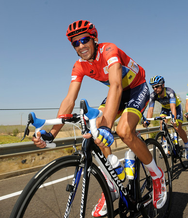 Alberto Contador is still smiling after his stage 17 exploits - he's got a new red jersey on as well..!