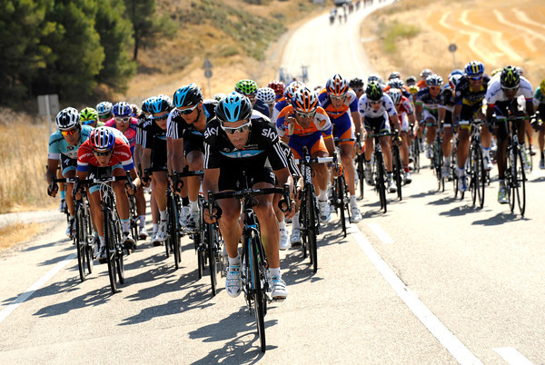 Sky rider Juan Antonio Flecha leads the peloton that has fractured a little...