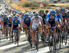 Garmin leads the peloton, with the escape caught and an uphill finish to look forward to...