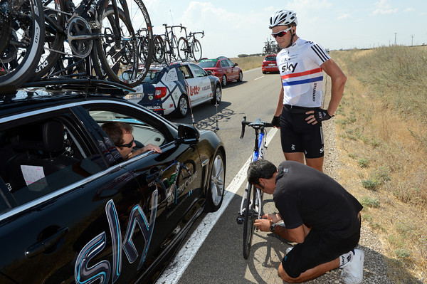 Ian Stannard is entertaining his mechanic by needing his gears adjusted...