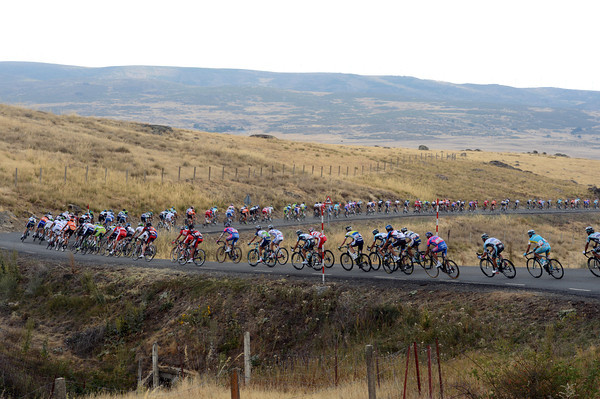 The peloton strings out on a long descent with 45-kilometres to go - but their pace has been very slow so far...