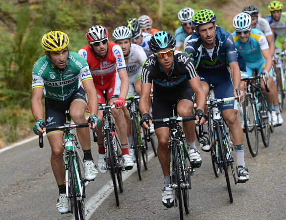 Richie Porte and David De La Fuente push the escape along on the followong climb, the Puerto de Canencia...
