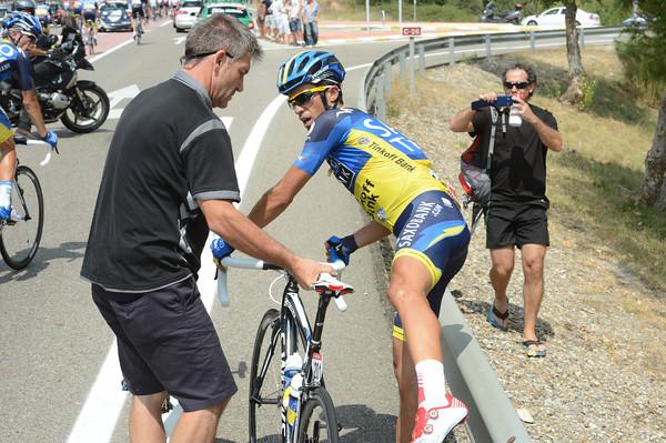 Gracias Faustino - Contador climbs aboard his new bike...