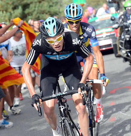 Froome attacks inside the last two-kilometres, but he has Contador and Rodriguez marking him...