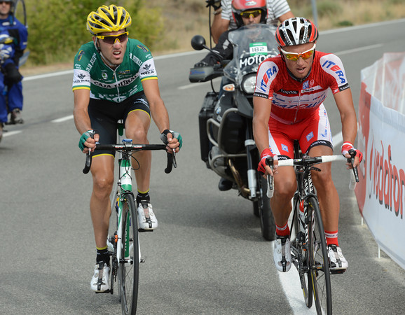 Ignatiev and Aramendia are alone in front as a few hills rise up in the last 20-kilometres...