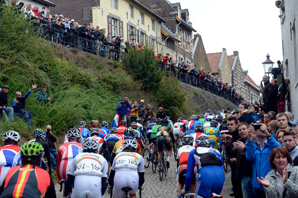The peloton climbs through a Limburg village more used to hosting the Amstel Gold race in April..!