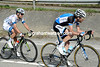 Ten Dam has joined forces with Geschke and leads the race with 15-kilometres to go..