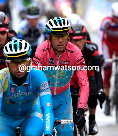 Vincenzo Nibali finishes in a following group, safe from danger with time-checks given at the entry to the finish circuit because of the conditions...