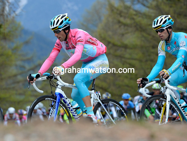 Vincenzo Nibali looks composed in the midst of his Astana team...