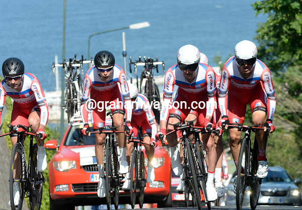 Katusha took 4th place, 19-seconds down...