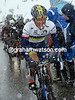 Majka pedals through the snow, knowing his white jersey has slipped away from him...