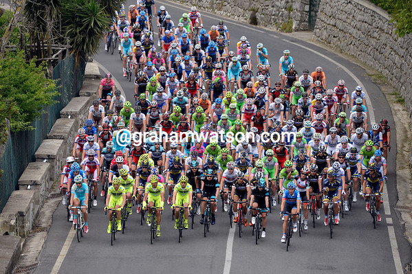 The heirachy of the peloton has yet to be agreed on the first climb away from Sorrento..
