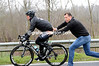 Mark Cavendish changes a flat tyre and enjoys a good push from Wilfried Peeters...