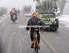 An Euskatel rider is one of dozens unable to keep warm and keep his place...