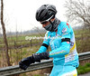 Who's this..? Vincenzo Nibali is feeling the cold already - on come the gloves...