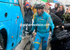 Nibali looks cold and miserable as he walks to his Astana bus...
