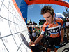 Clocking on - new race-leader Geraint Thomas signs in for work in Unley...