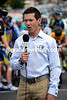 Robbie McEwen seems in his element at being a TV commentator in Adelaide...