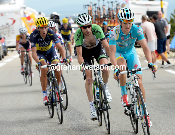 Jacob Fuglsang leads a group containing Ten Dam, Kreuziger, and 2nd-overall, Bauke Mollema...