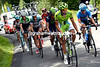 Moreno Moser leads the escape in to the Col de Ornan - the Saxo-Tinkoff pair have got no-where near to catching them...