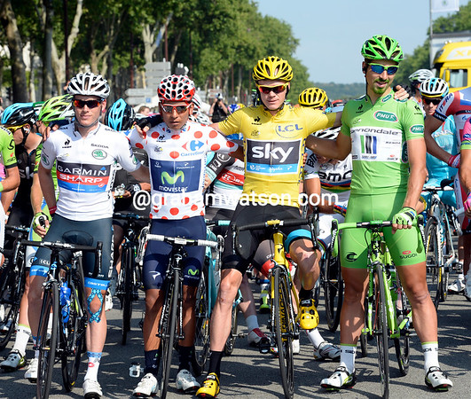 Peter Sagan lines up with Chris Froome, Nairo Quintana, and Andrew Talansky in Versailles...