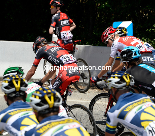 Tejay Van Garderen has crashed on a fast descent, but he's up and riding almost immediately...
