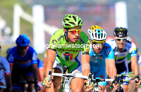 Peter Sagan takes second-place one-second later - and closes the gap overall to David Millar (in the background..)