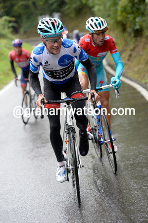 Chris Horner attacks on the final ascent - only Nibali can go with him...