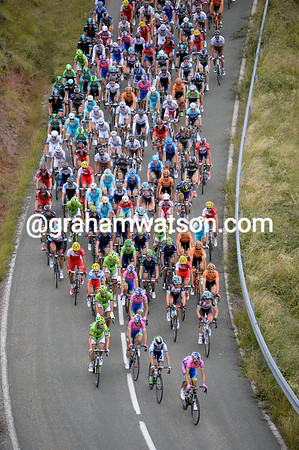 The peloton is still spaced apart, an indication that the real chase has yet to begin...