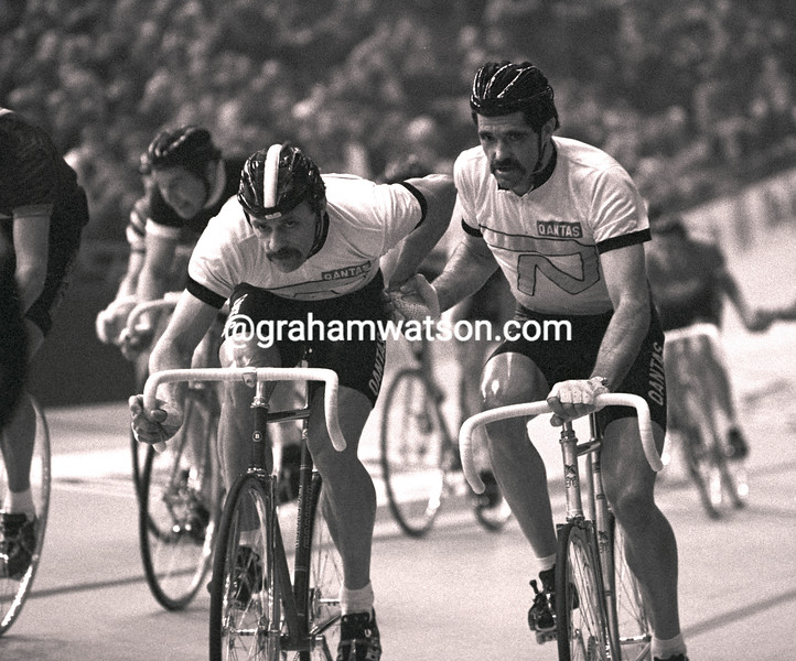 DANNY CLARK AND DON ALLEN IN THE ROTTERDAM SIX-DAY RACE