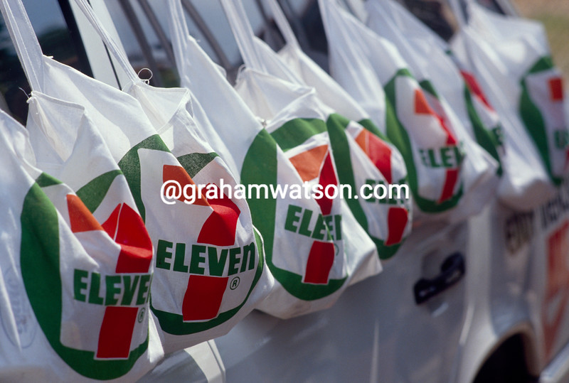 Feed bags await some customers in the 1988 Tour de France
