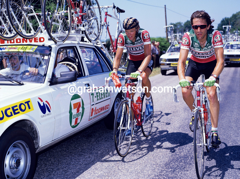 Jock Boyer and Ron Kiefel in the 1988 Tour de France