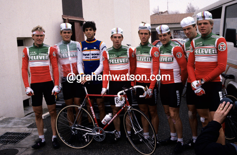 The 7-Eleven team at its first-ever European race in 1985