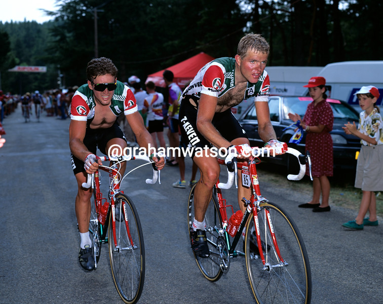 Ron Kiefel and Davis Phinney in the 1987 Tour de France