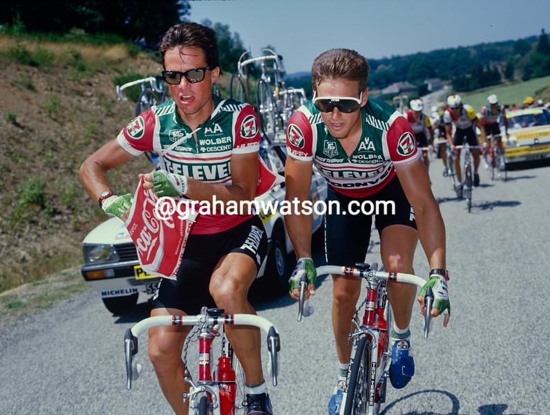 Jeff Pierce and Davis Phinney in the 1986 Tour de France