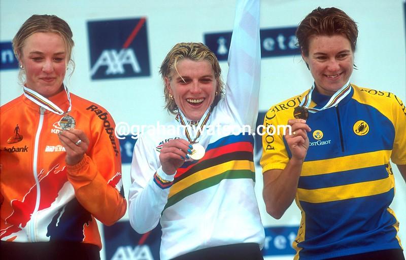 Zinaida Stahurskaia wins the 2000 World Championships from Chantal Beltman and Madeleine Lindberg