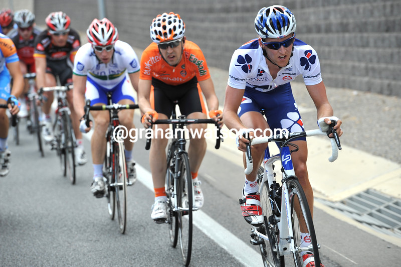 Wesley Sulzberger is one rider trying hard to break away at the front...