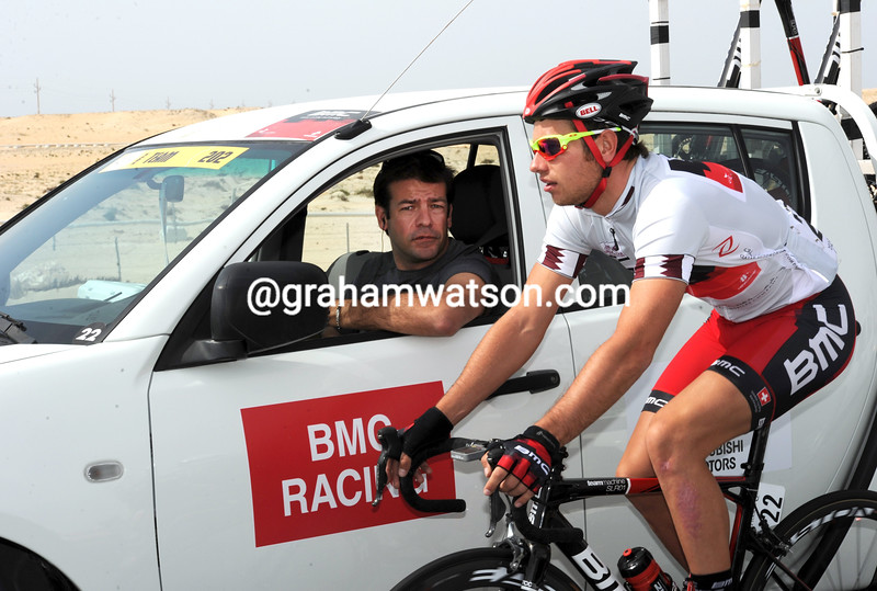 Adam Blythe and John Lelangue on stage three of the 2012 Tour of Qatar
