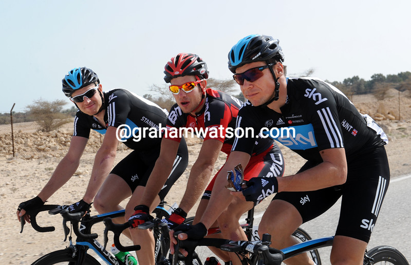 Jeremy Hunt, Adam Blythe and Ian Stannard on stage one of the 2012 Tour of Qatar