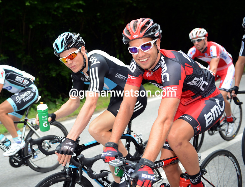 Adam Blythe and Ben Swift on stage two of the 2012 Tour de Suisse