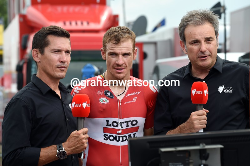 Adam Hansen with Robbie McEwen and Mike Tomolaris on stage fifteen of the 2015 Tour de France