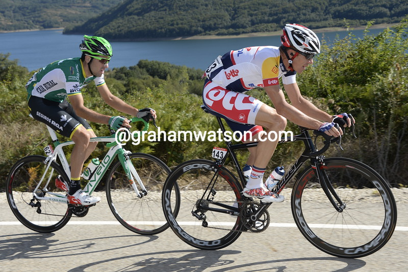 Adam Hansen on his way to winning stage nineteen of the 2014 Tour of Spain