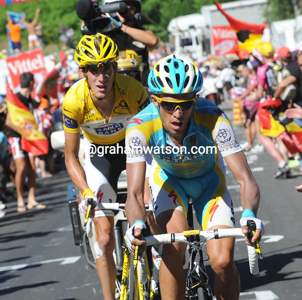 ANDY SCHLECK AND ALBERTO CONTADOR ON STAGE THIRTEEN OF THE 2010 TOUR DE FRANCE