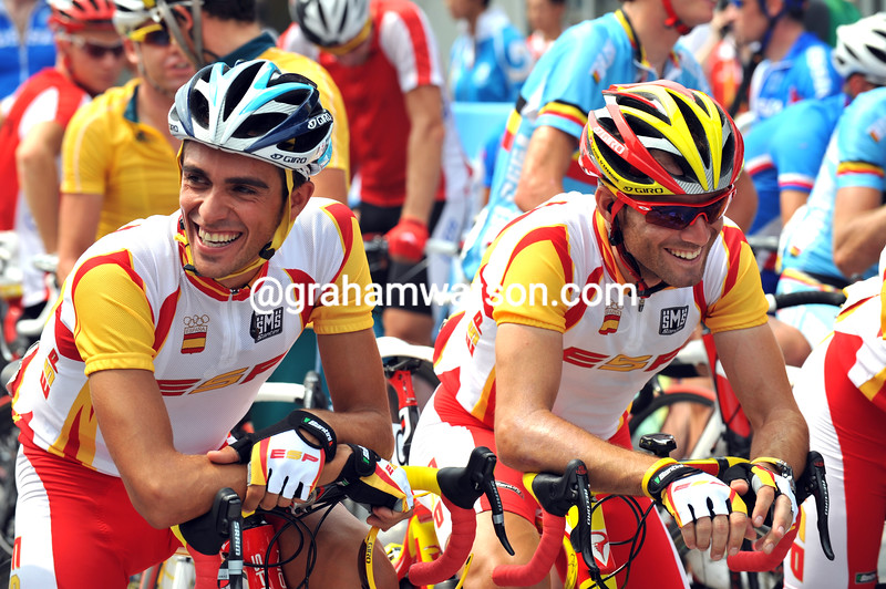 ALBERTO CONTADOR AND ALEJANDRO VALVERDE AT THE 2008 OLYMPIC GAMES
