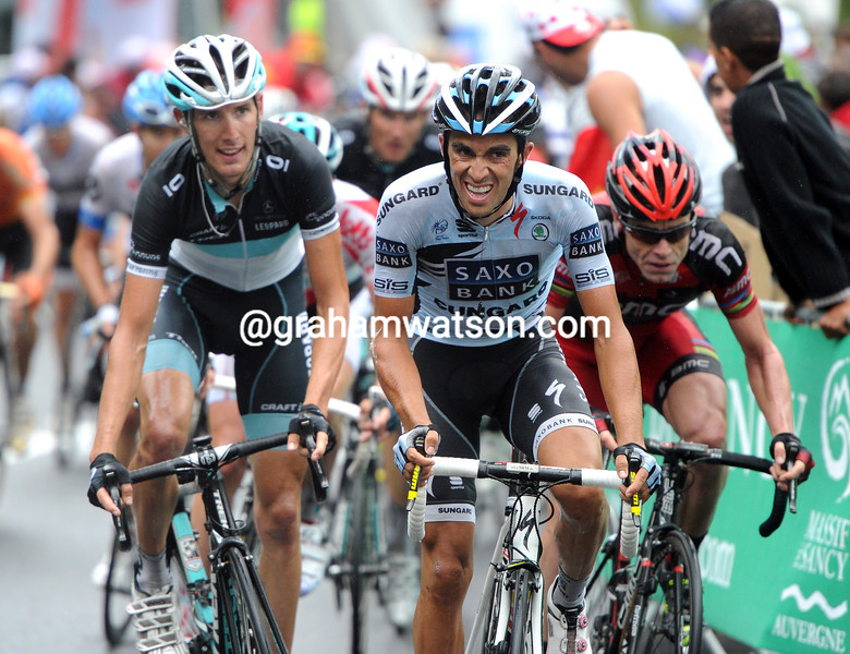 ALBERTO CONTADOR ATTACKS ON STAGE SEVEN OF THE 2011 TOUR DE FRANCE
