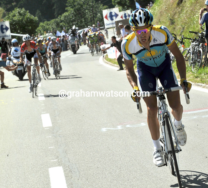 ALBERTO CONTADOR ATTACKS ON STAGE FIFTEEN OF THE 2009 TOUR DE FRANCE
