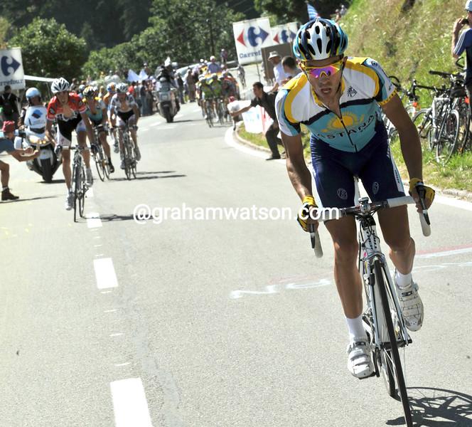 ALBERTO CONTADOR ATTACKS ON STAGE FIFTEEN OF THE 2009 TOUR DE FRANCE